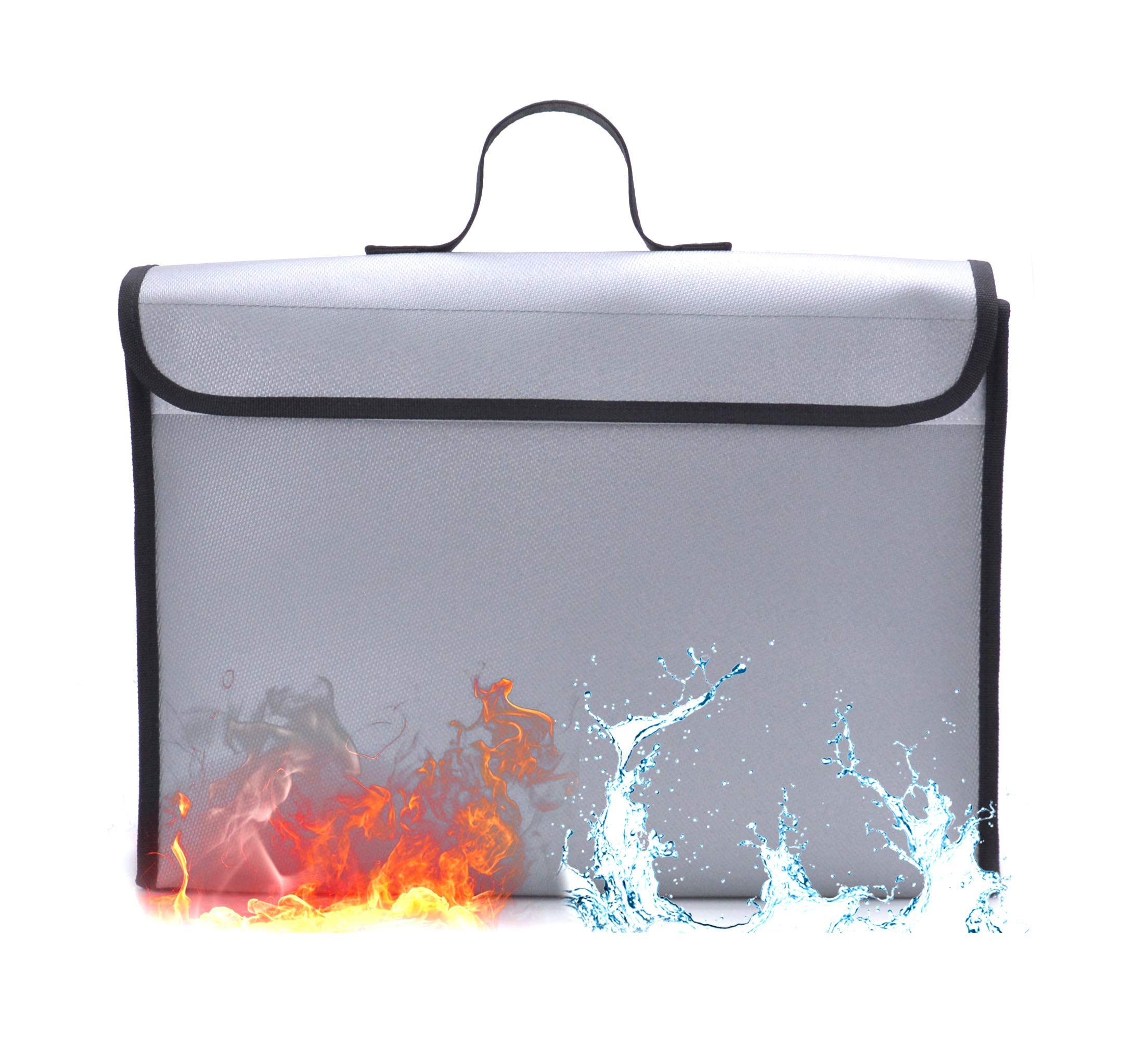 """YoungRC Fireproof Document Bag 15""""x11""""x3"""" Silicone Coated Fire Resistant Money Bag Fireproof Safe Storage for Cash, Files, Jewelry and Passport"""