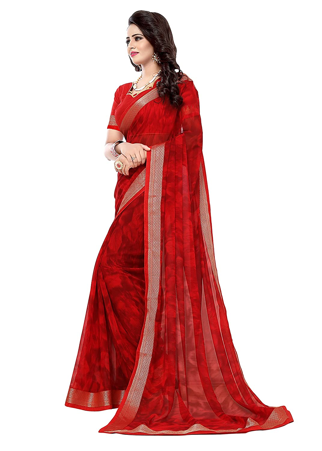 Best Chiffon Saree with Blouse Piece For Party Wear