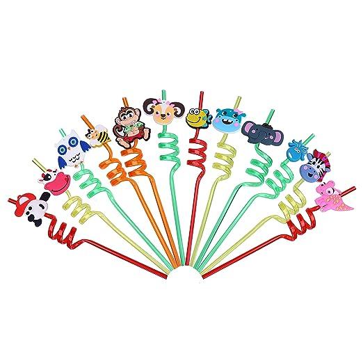 LOKIPA 12 pajitas de Fiesta para niños, Reutilizables, de plástico, rizadas, para Fiestas de cumpleaños, Fiestas de bebés, etc.