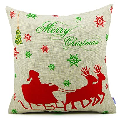 homar christmas throw pillow covers santa claus and deers print pattern decorative pillow case cover - Christmas Decorative Pillow Covers