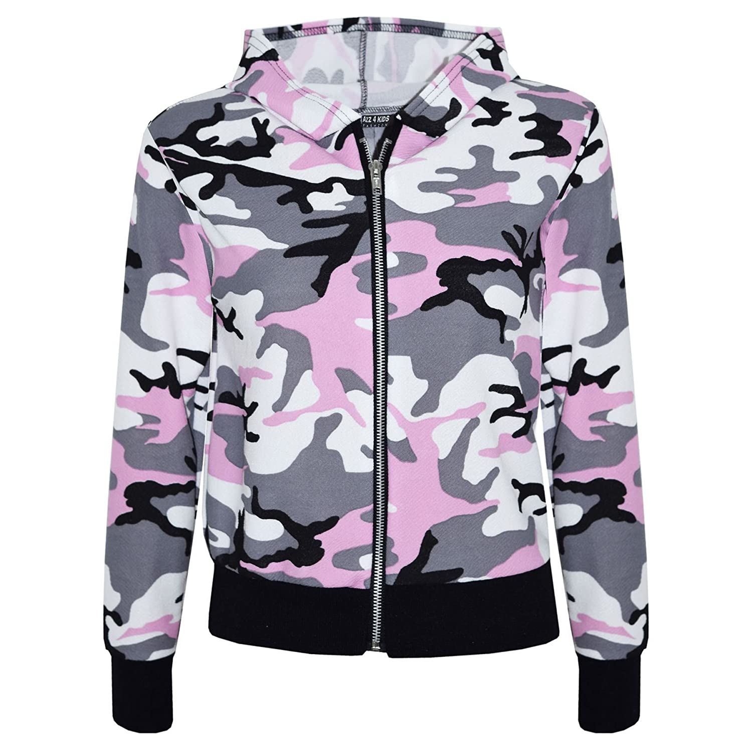 Kids Girls Jacket Designer Camouflage Print Baby Pink Hooded Jackets Coat 7-13 Y
