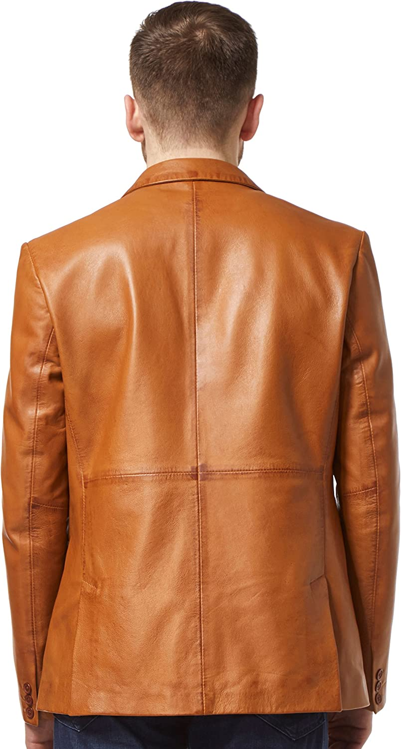 World of Leather Mens Lambskin Biker Leather Jacket Moto Diamond Quilted Cognac