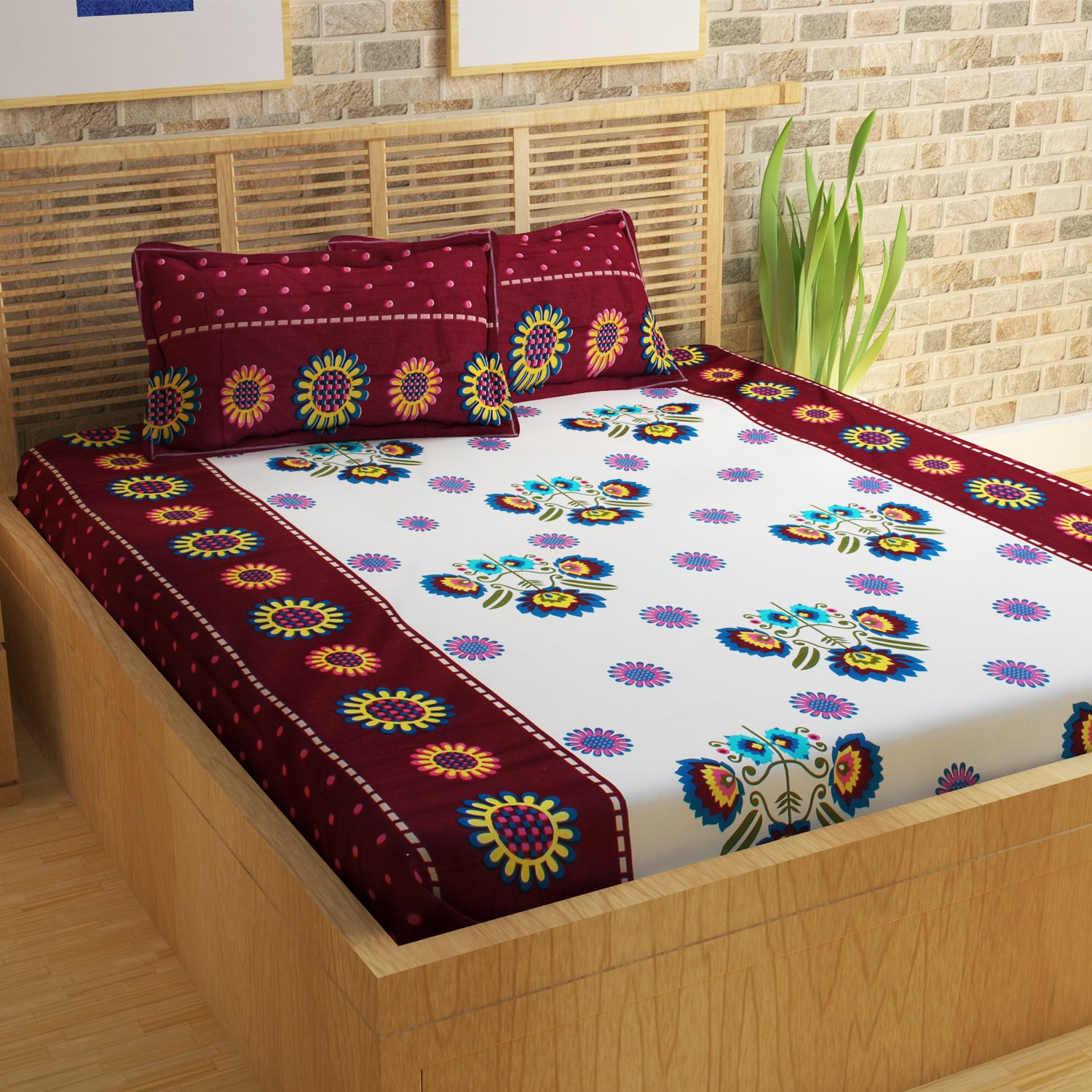 f412dc1ca47 Story Home Magic 152 TC Cotton Double Bedsheet with 2 Pillow Covers - Maroon   Amazon.in  Home   Kitchen