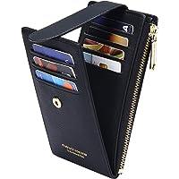 Badiya RFID Card Holder Wallet for Women Slim Bifold Zipper Card Cases Money Organizers