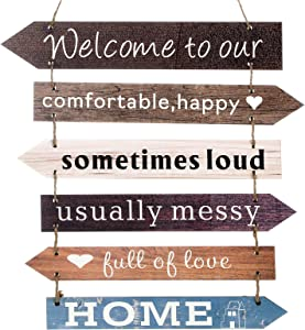 Jetec Welcome to Our Home Wood Hanging Front Door Sign Welcome Home Sign for Wall Front Door Decor Home Vintage Welcome Wall Sign Farmhouse Rustic Funny Family Decorative Signs