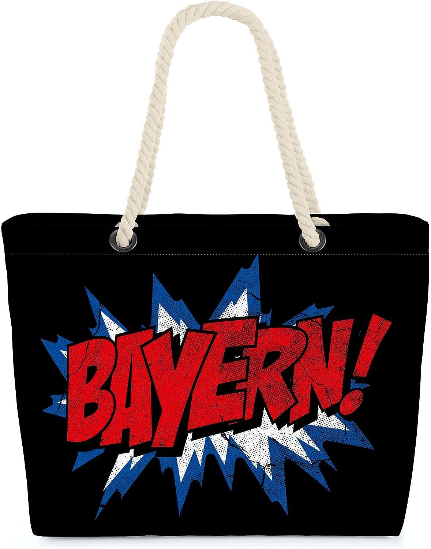 VOID Bolso de Playa XXL Bolsa Shopper Baviera 58 x 38 x 16cm 23l Beach Bag Bayern München Bavaria Munich, Kissen Farbe:Negro