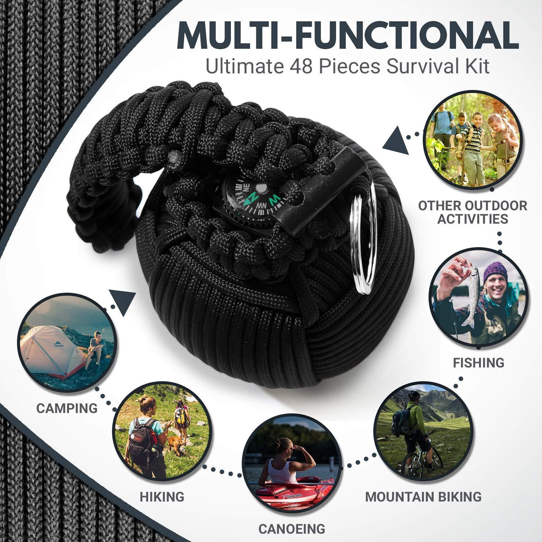 Holtzman's Survival Kit Paracord Grenade The #1 Best 48 Tool Emergency kit (Solid Black) by Holtzman's Gorilla Survival (Image #4)