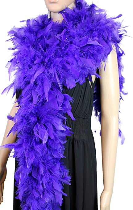 Blue Color 100 Gram Chandelle Feather Boa Wedding 2 Yard Long-Great for Party