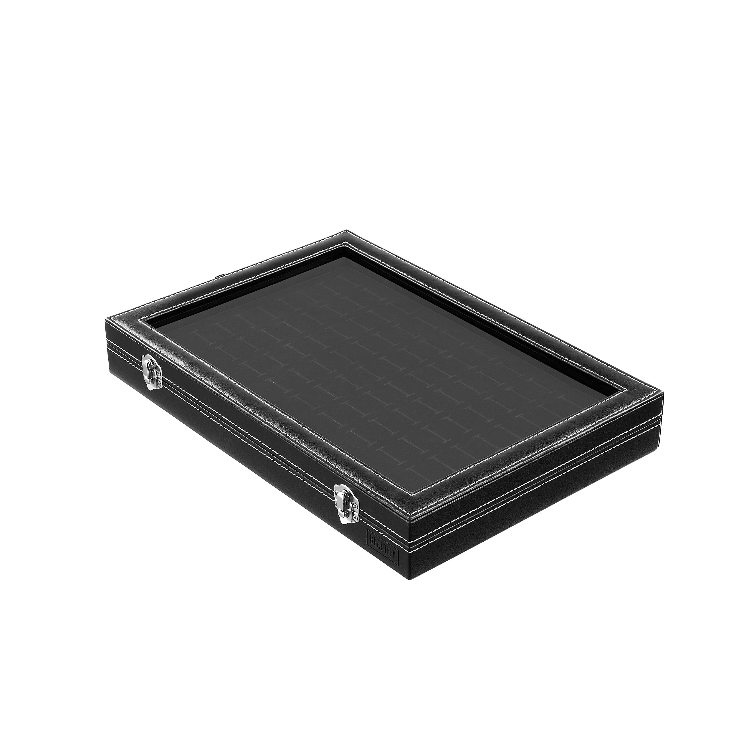 Beautify 100 Slot Ring Box Jewelry Organizer Display Storage Holder Tray Case with Clear Viewing Lid,Black by Beautify (Image #3)