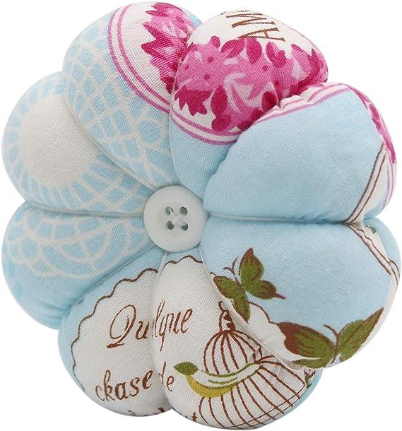 Blue Christmas Birthdays Gift Flowers Pattern LoveinDIY Wrist Pin Cushion Printed Flower Pumpkin Wrist Band Pin Cushions Wearable Needle Pincushions for Sewing