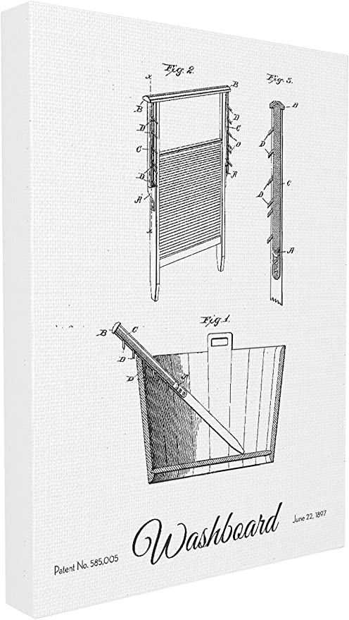 Stupell Home D/écor Vintage Washboard Patent Drawing Stretched Canvas Wall Art Proudly Made in USA 16 x 1.5 x 20