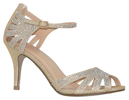9d61cba9dc820 MVE Shoes Women's Party Pumps-Pointed LowKitten Heel-Rhinestone  Shoe-Classic Slip on-Weedding Dress Shoe by Classy Women
