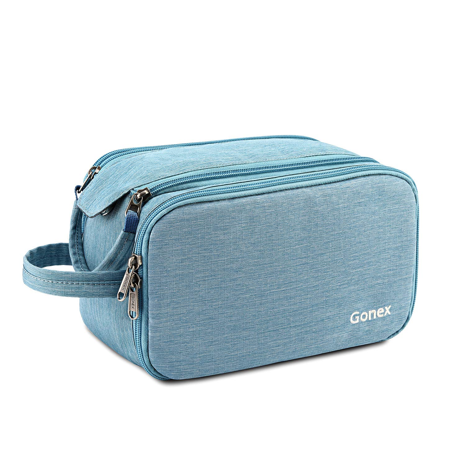 Gonex Travel Toiletry Bag with Dual-Way Zippers Dopp Kit for Men Women Toiletries Makeup Bag Cosmetic Organizer Shaving Bag for Business Trip Light Blue
