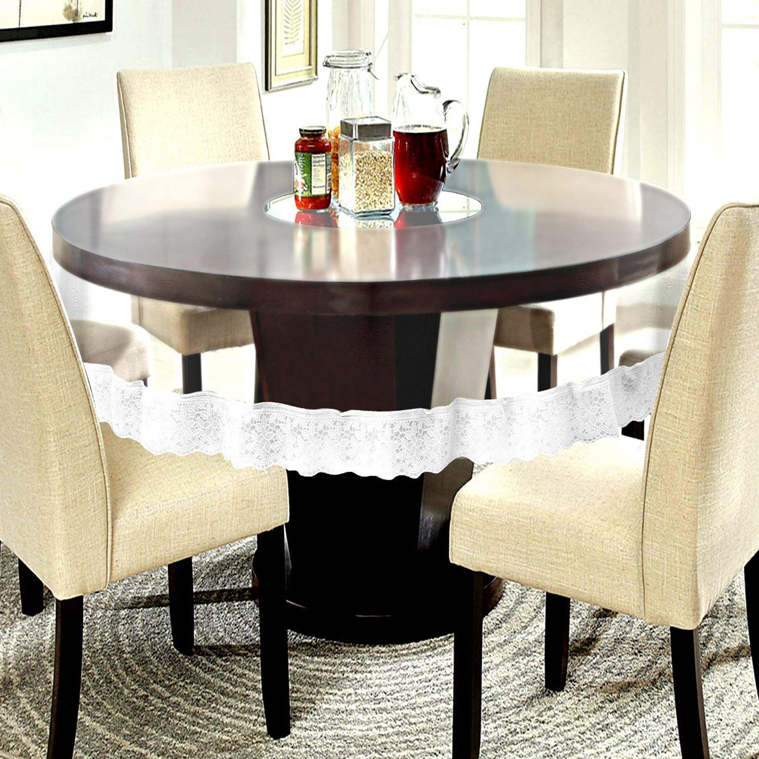 Buy Kartikey Pvc Waterproof 4 Seater Round Dining Table Cover Cloth Transparent With White Border Lace 60 Inches Online At Low Prices In India Amazon In