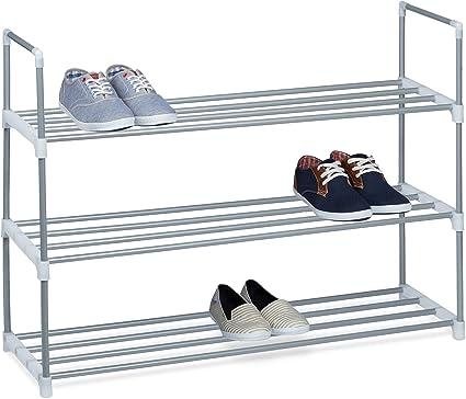 relaxdays meuble a chaussures en metal hxlxp 70 x 90 x 31 cm rangement pour chaussure avec 3 etages pour 12 paires argent