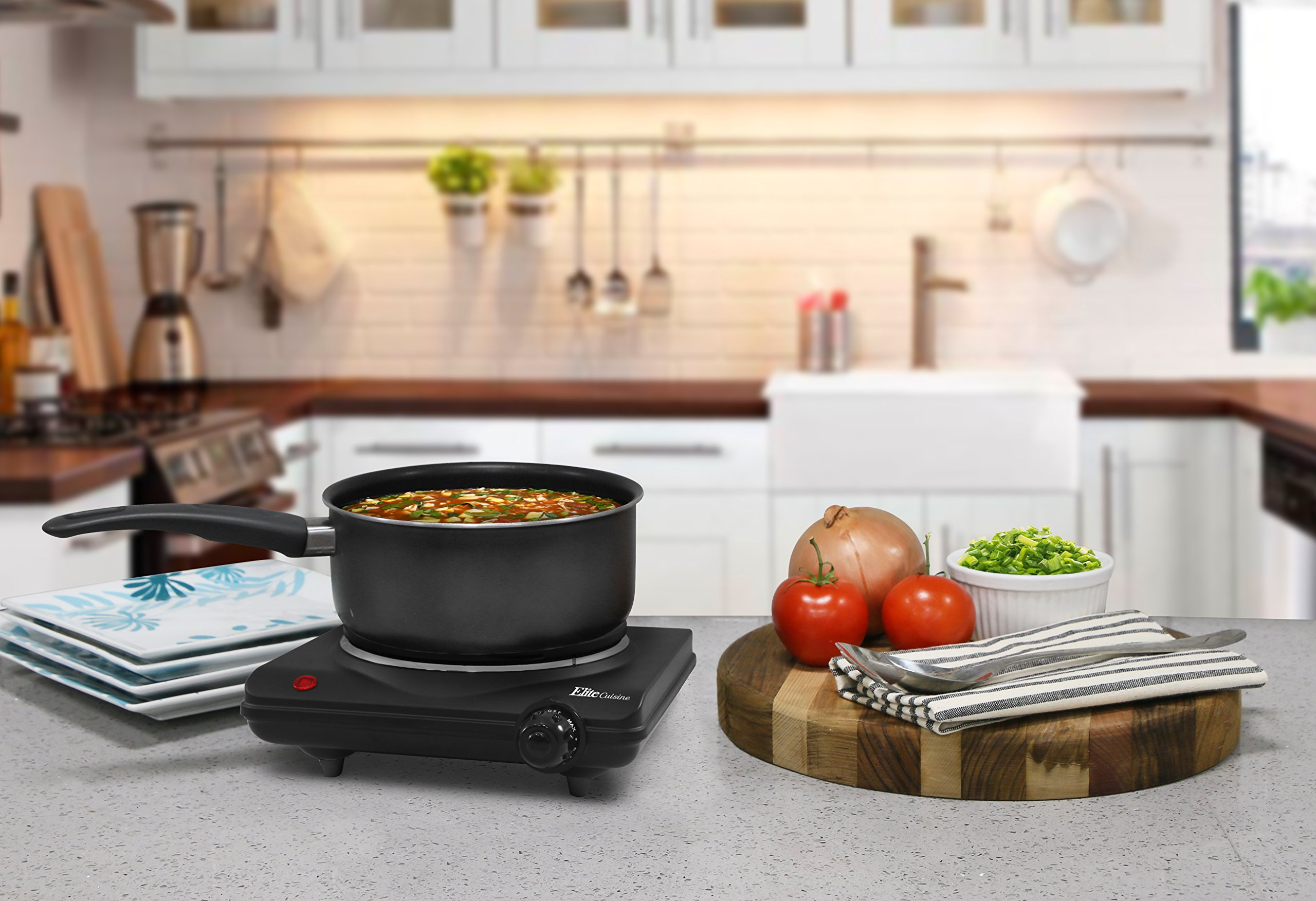 Elite Cuisine ESB-301BF Single Countertop Portable Buffet Burner Electric Hot Plate, Heavy duty flat cast iron heating plate, power indicator light, non-skid feet, easy to clean, 1000 Watts, Black by Maxi-Matic (Image #2)