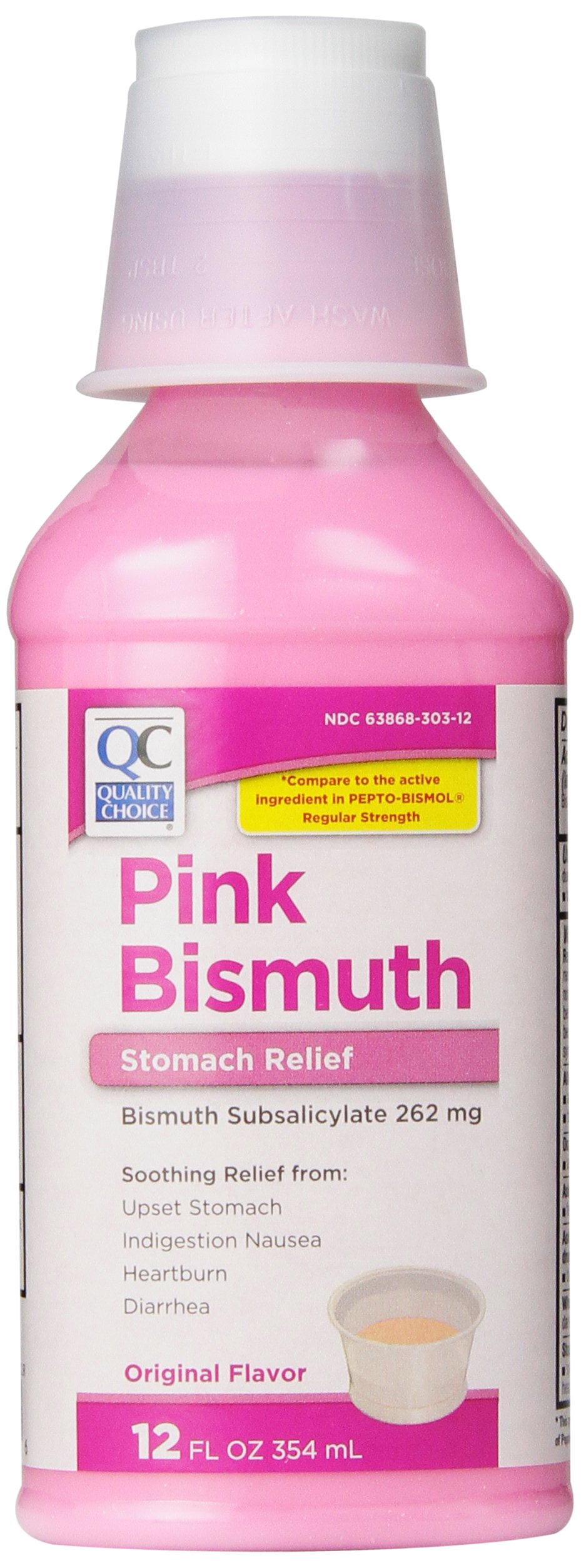 Quality Choice Regular Strength Pink Bismuth Liquid 12 Fluid Ounces (355ml), Plastic Bottle (Pack of 6)