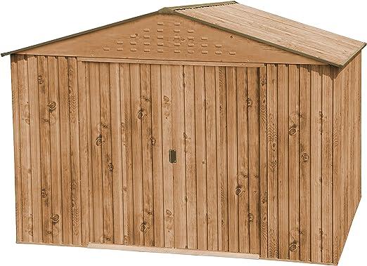 HERCULES-II-10X8 Caseta Metálica de Imitación Madera: Amazon.es: Jardín