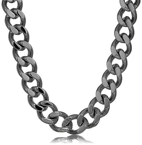 Amazon.com: Crisol joyas para hombre negro IP de acero ...