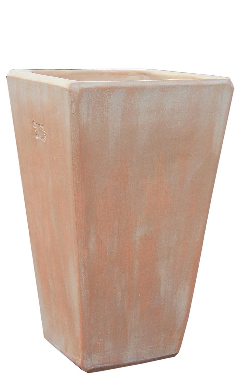 Großer Pflanztopf Pflanzkübel eckig frostsicher Größe L 30 x B 30 x H 50 cm, Farbe terrakotta, Form 150.050.53 Pflanzkübel quadratisch Qualität von Hentschke Keramik