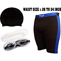 "SLYK Complete Swimming Kit with Cap,Goggle and Trunk - (Waist 28"" to 36"") // Jammer - (Waist 26"" to 34"")"