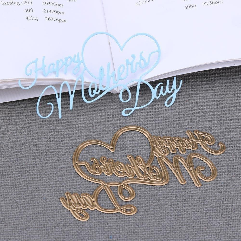 Whitelotous Carbon Steel Happy Mothers Day Cutting Dies DIY Stencil Album Craft Gift