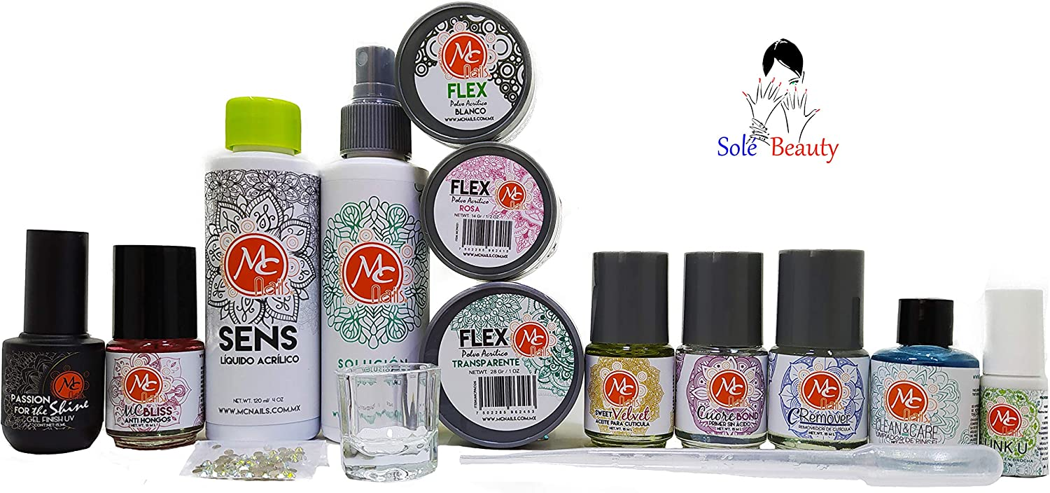 Mc Nails Kit Productos Básicos Uñas Acrílicas Uñas Gel Manicure Regalo Mx