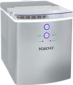Igloo ICEB33SL 33-Pound Automatic Portable Countertop Ice Maker Machine, Silver (Renewed)