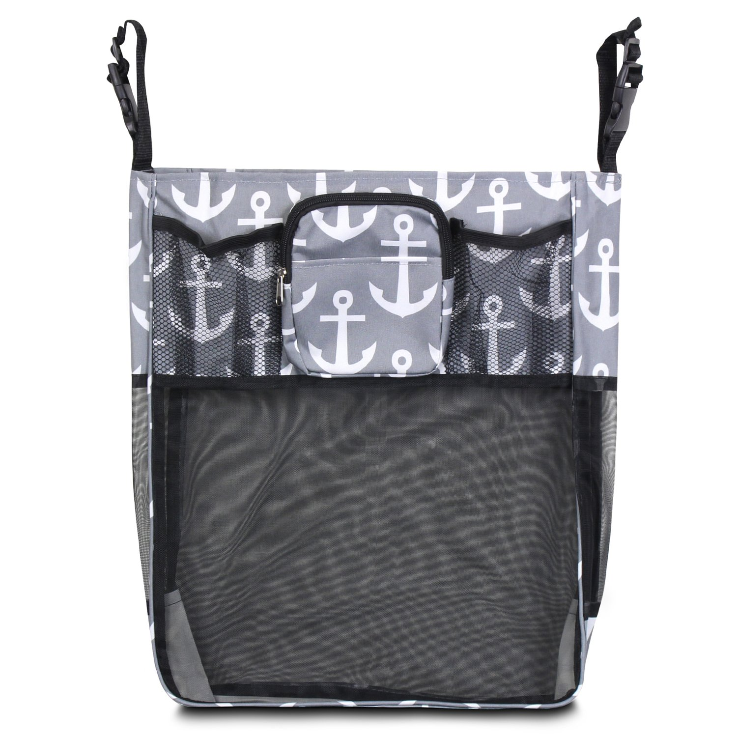 Zodaca Stroller Organizer Bag, Gray/Black Anchors