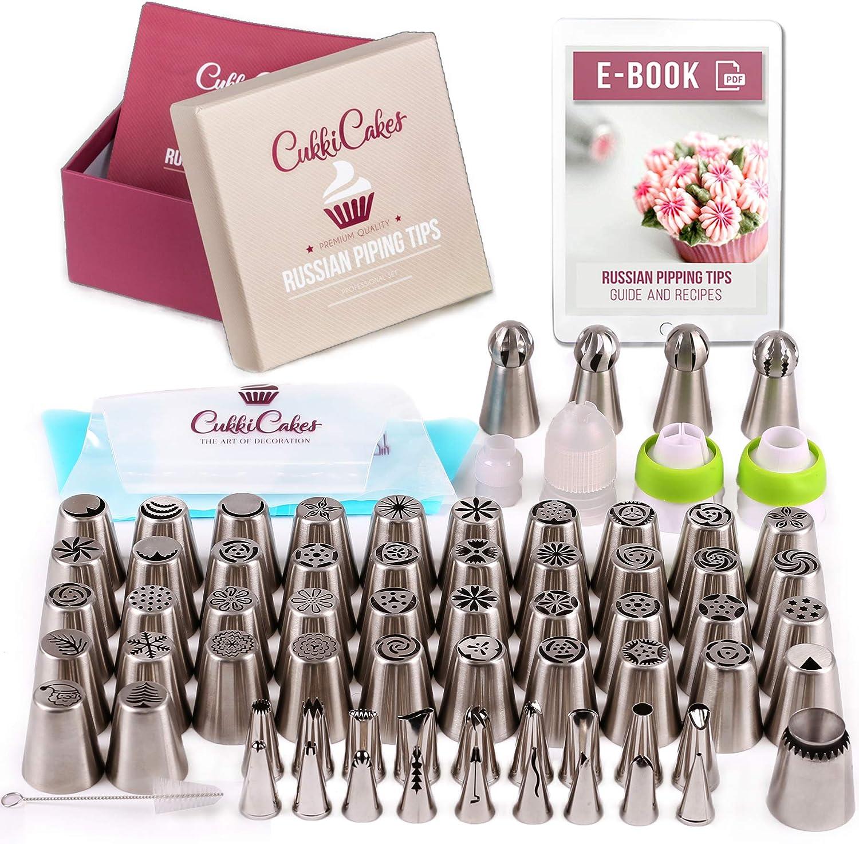 CukkiCakes Boquillas Rusas de Repostería - Set Decoración de Cupcakes y Tartas (92pcs): 65 Boquillas + 20 Mangas Pasteleras Desechables + Bolsa Silicona Reutilizable + 4 Adaptadores + Accesorios