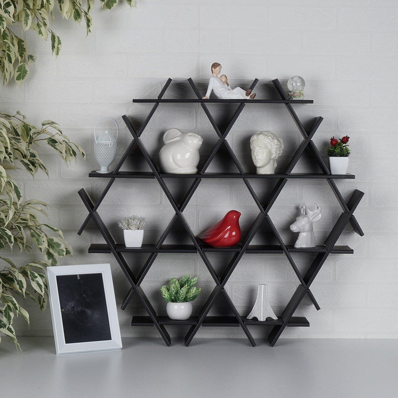 LaModaHome Cardboard Shelf 100% Corrugated Cardboard (27.6'' x 26.4'' x 4.3'') Black Triangle Hexagon Decorative Design Living Room Storage Shelf Multi Purpose