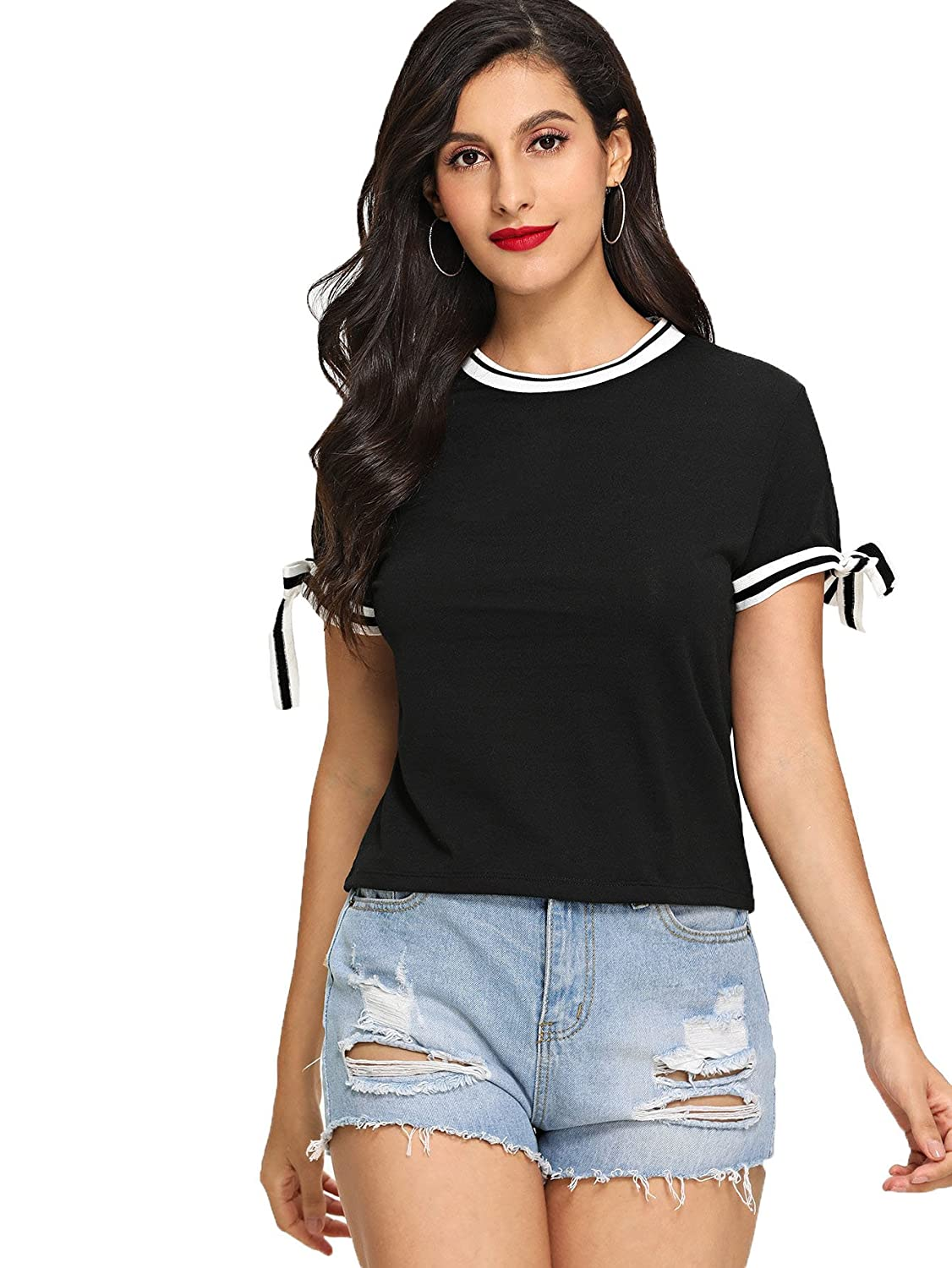 892b503057 Online Cheap wholesale SheIn Womens Round Neck Bow Tie Short Sleeve Cute  Tee Slim Fit T-shirt Knits & Tees Suppliers