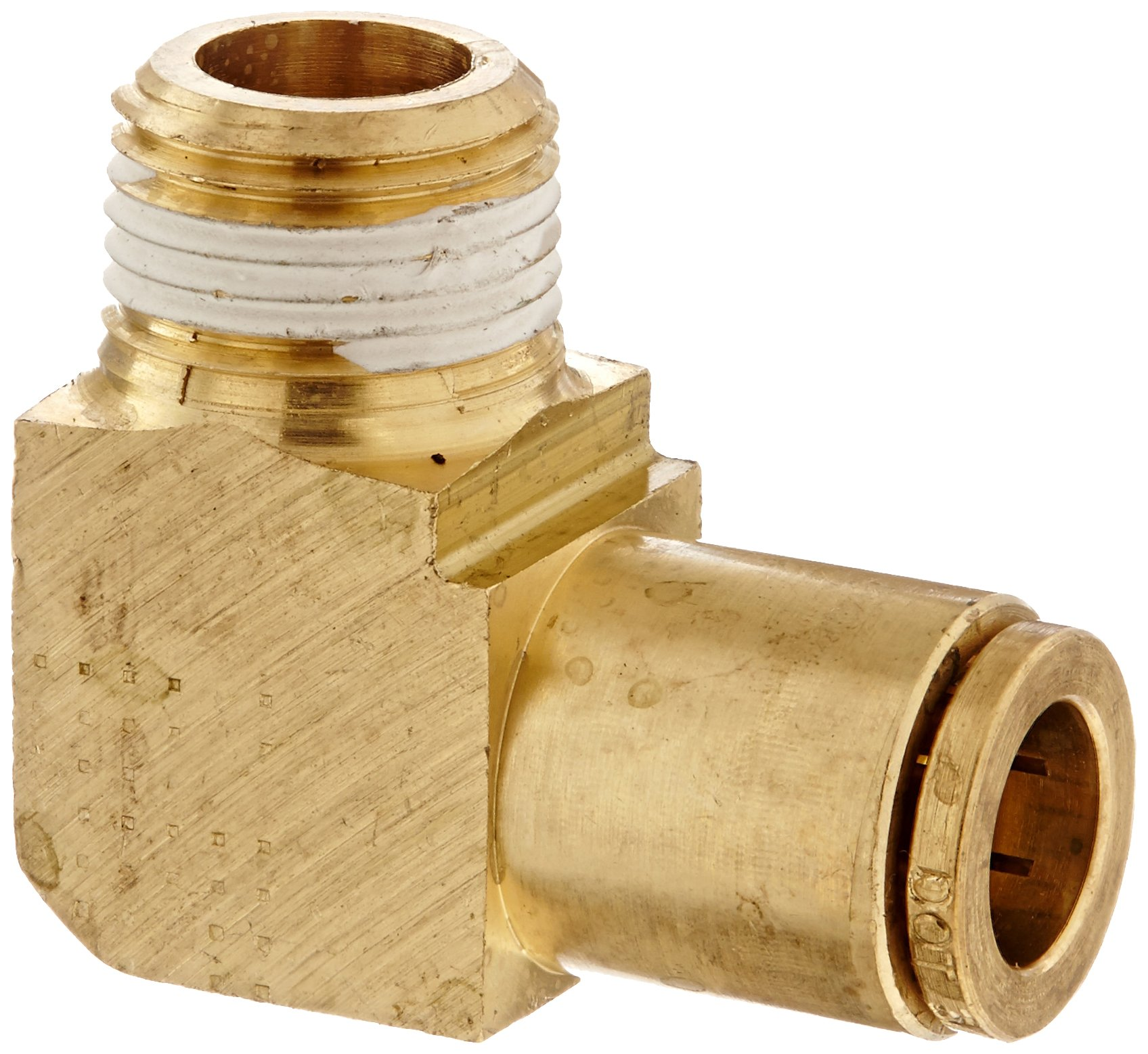 Eaton Weatherhead 1869X6X6 Brass CA360 D.O.T. Air Brake Tube Fitting, 90 Degree Elbow, 3/8'' NPT Male x Tube OD