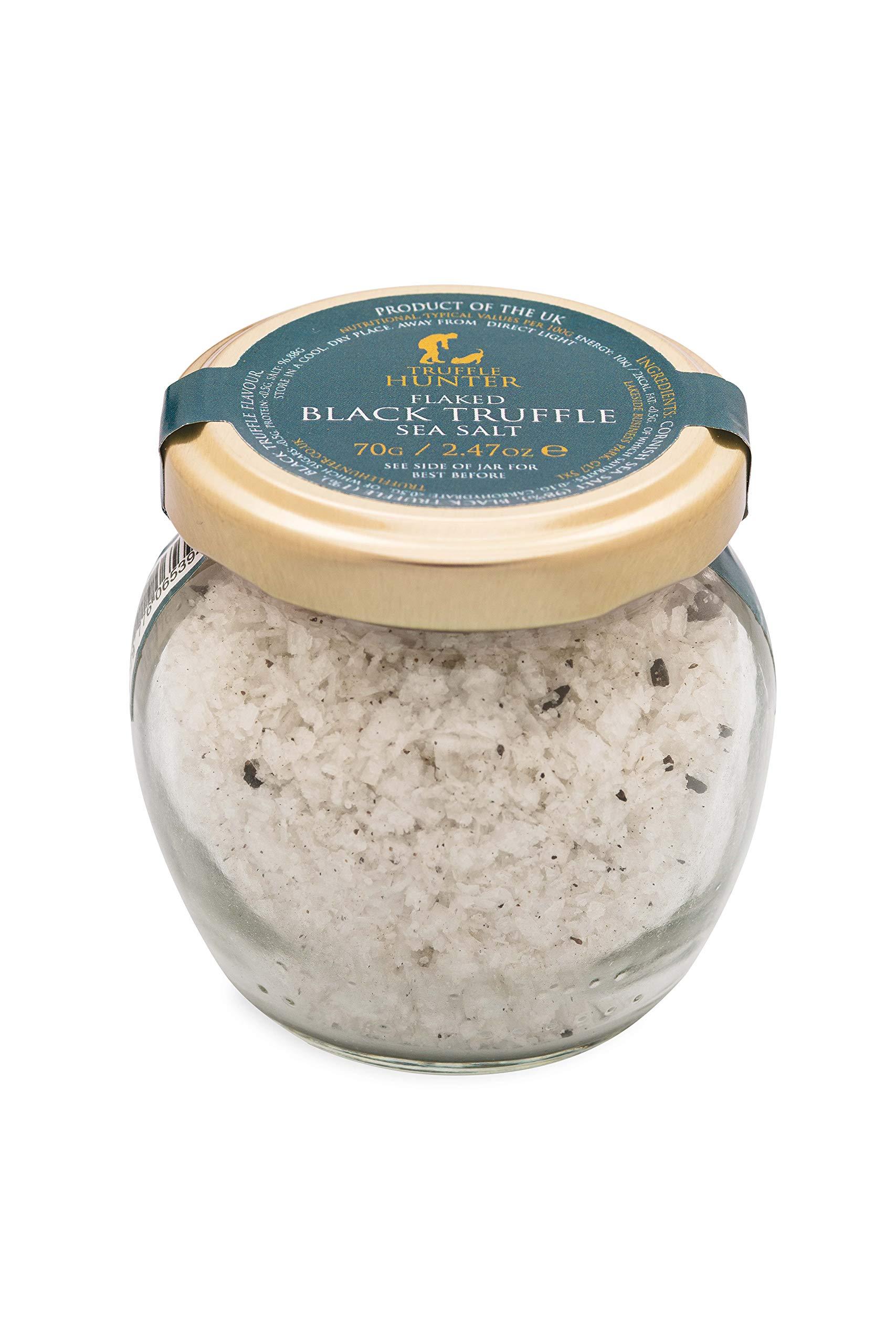 TruffleHunter Real Flaked Black Truffle Cornish Sea Salt (70g) - European Black Summer Truffles (Tuber Aestivum) - Gourmet Food Seasoning Cooking Condiments - Gluten Free, Vegan, Vegetarian