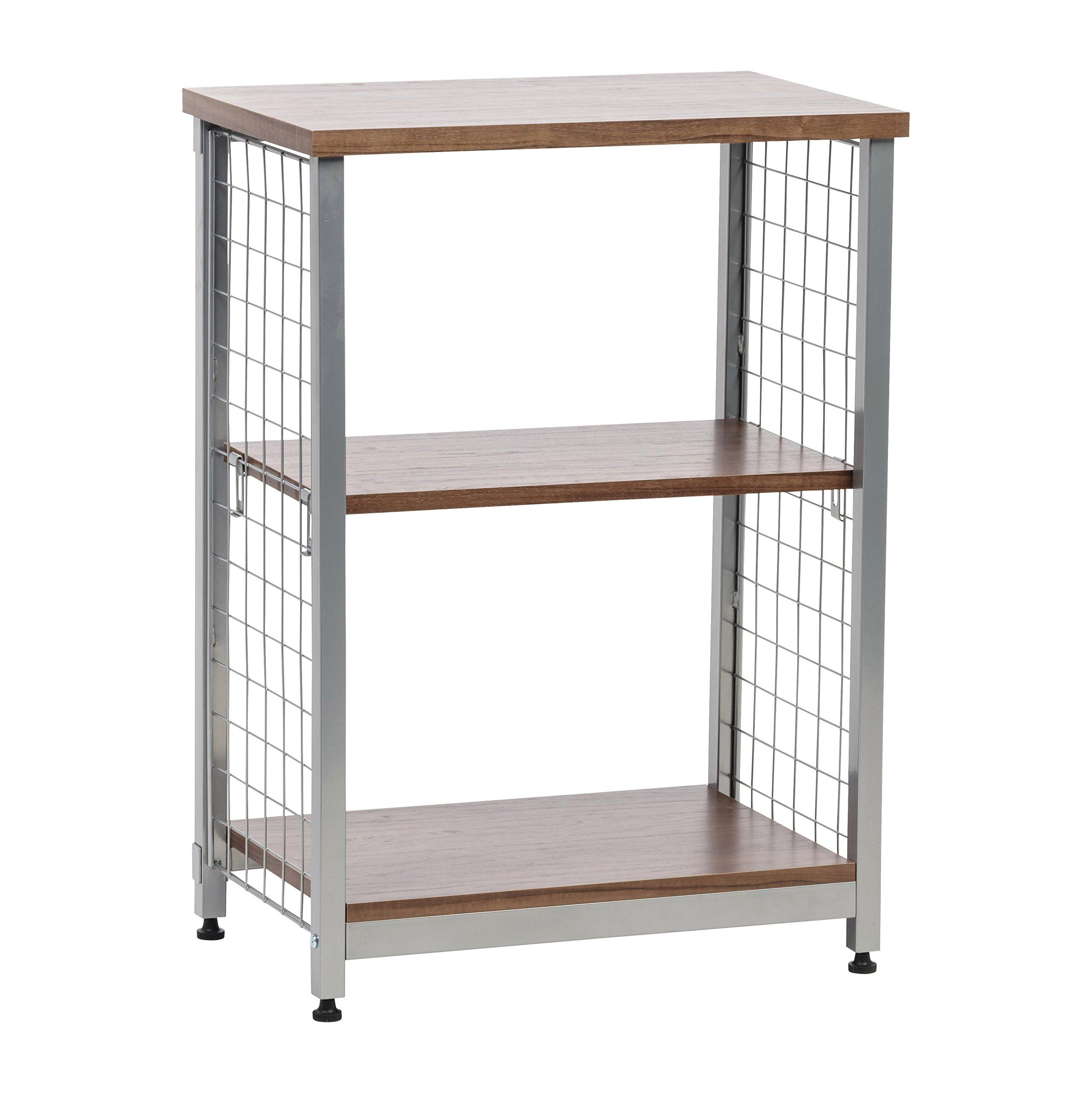 IRIS 2-Tier Open Mesh Wood-Top Shelf, Brown