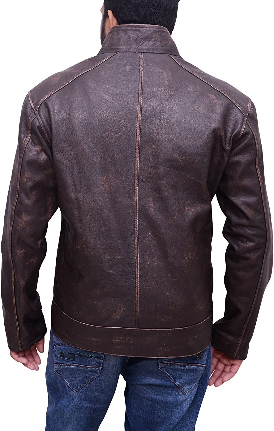 Trendhoop Cafe Racer Mens Leather Jacket Brown Real Cow Skin Perfecto Motorcycle Leather Jackets
