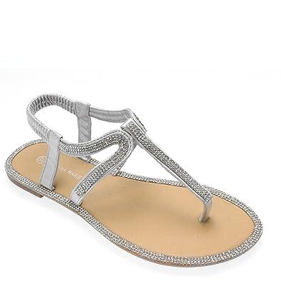 6ffcdb95613 TM Sandals - Diana Silver Sparkly Flat Sandals (Women Size 3 UK - EUR 36