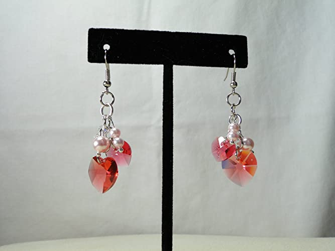 c043799ee Amazon.com: Swarovski crystal heart drop earrings.: Handmade