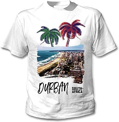 teesquare1st Durban South Africa Camiseta Blanca para Hombre de Algodon: Amazon.es: Ropa y accesorios