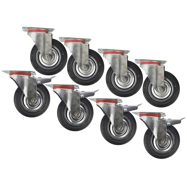 6' (150 mm) di gomma e snodo girevole con freno ruota piroettante (8 pack) CST010_011 AB Tools