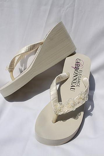 Amazon.com | Ivory Wedge Bridal Flip Flops Sandals with Organza ...