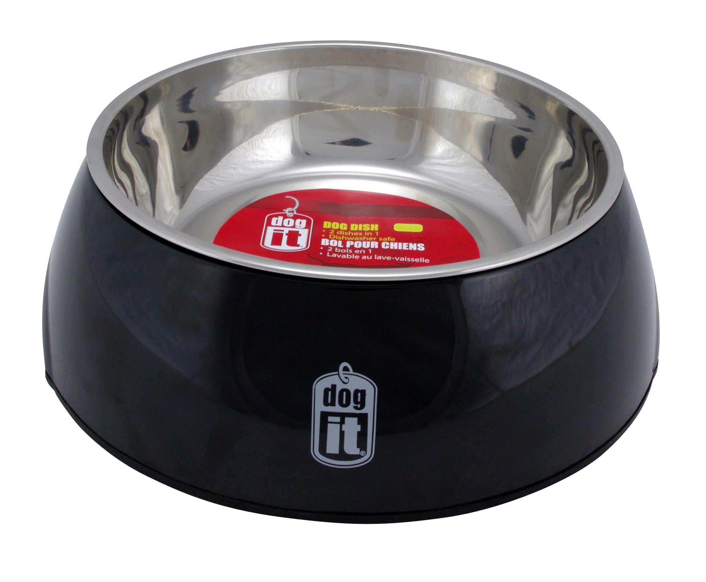 Dogit 2-in-1 Durable Bowl, Black, Medium
