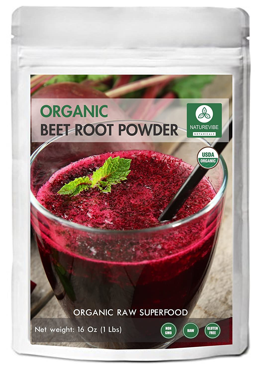 Organic Beet Root Powder (1 lb) by Naturevibe Botanicals, Raw & Non-GMO | Nitric Oxide Booster | Boost Stamina and Increases Energy