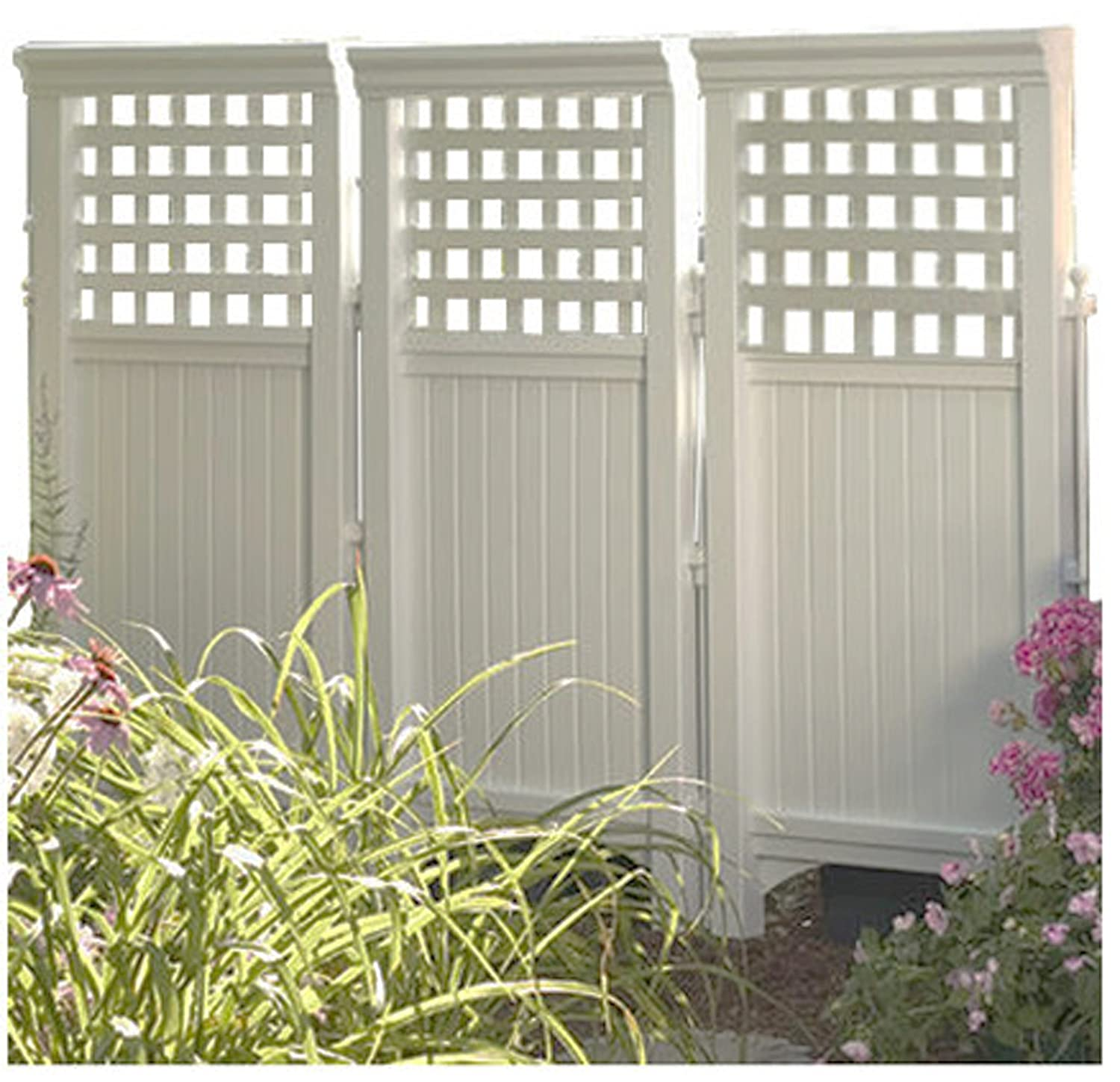 Amazon.com : Made In USA White UV Resistant 4 Panel Resin Outdoor Privacy  Screen Hides Garbage Cans, Recyclables, Bikes. Portable Outdoor Patio Screen  ...