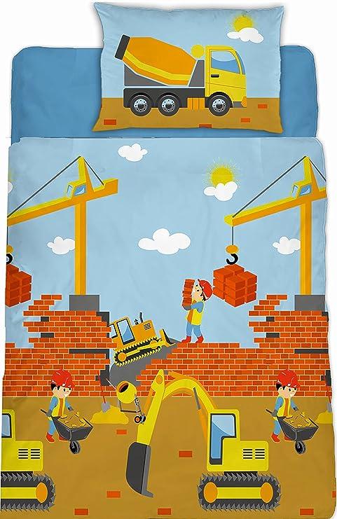 Aminata Kids Fein Biber Kinder Bettwäsche 100 X 135 Cm Bagger Bau Fahrzeuge Auto S Betonmischer Baby Bettwäsche 100 Baumwolle Renforce Hell Blau