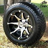 "12"" Banshee Black/Machined Aluminum Golf Cart Wheels and 215/50-12"" DOT ComfortRide Golf Cart TIres - Set of 4"