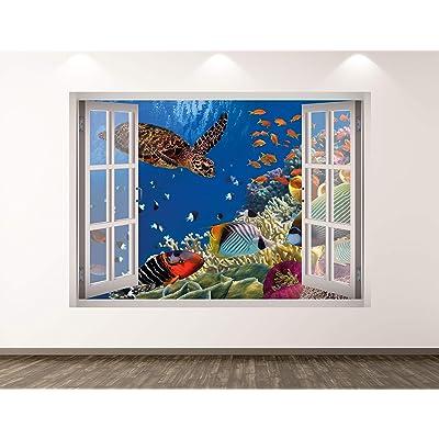 "West Mountain Aquarium Wall Decal Art Decor 3D Window Turtle Sticker Mural Kids Room Custom Gift BL143 (22"" W x 16"" H): Home & Kitchen"