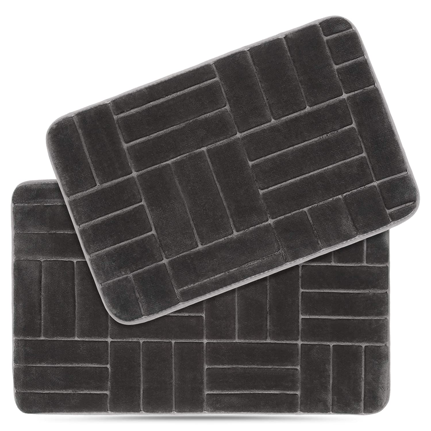 Effiliv 2 Piece Bathroom Rugs Set - Memory Foam Anti Slip Shower Bath Mats Rug Extra Soft, Black/Line