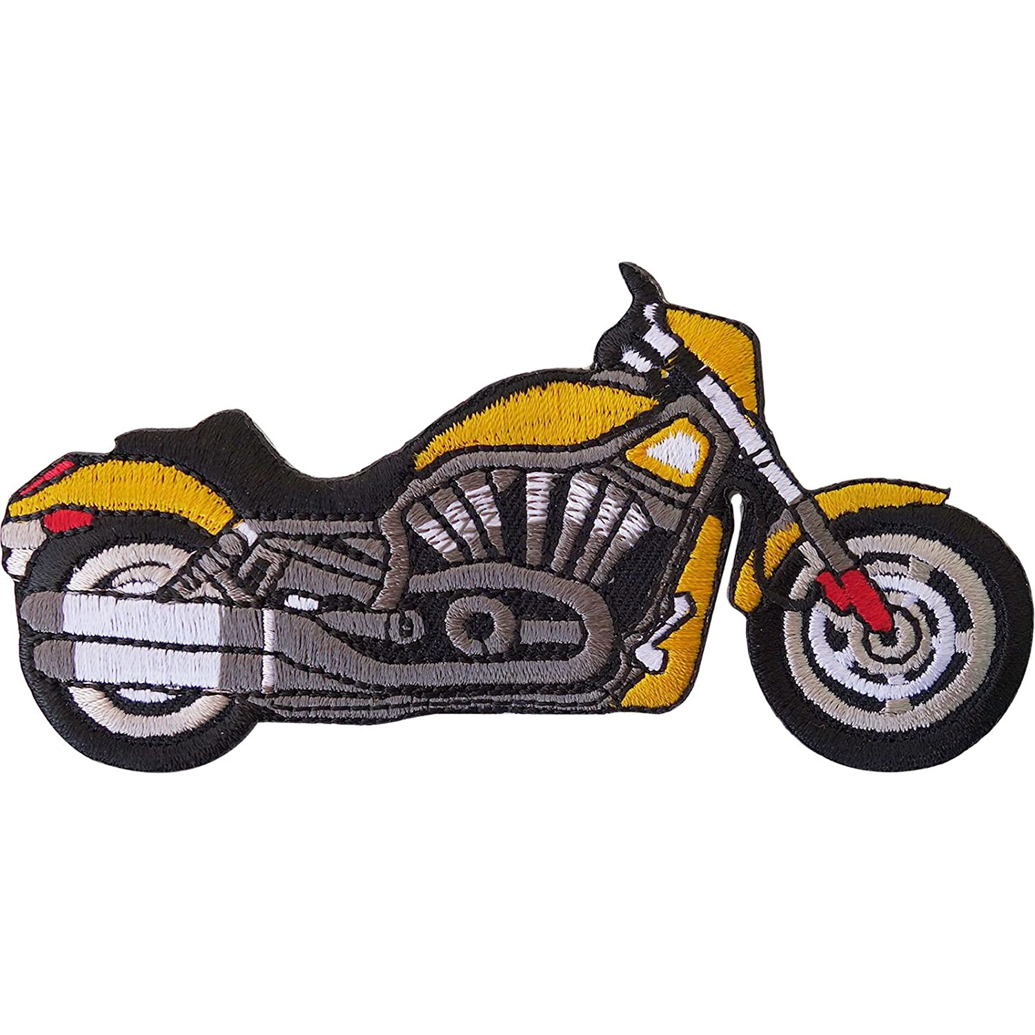 10,5x5,5cm Iron on patches yellow motorbike Biker Application badges