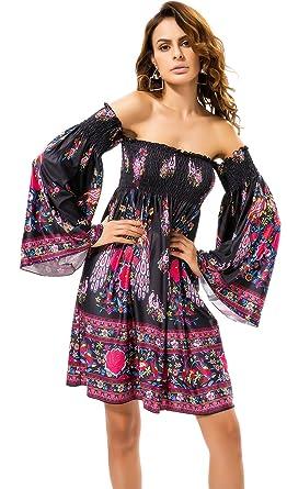 c8e3e2a10f21 Off The Shoulder Bell Sleeve Baroque Ethnic Tribal Mini Swing Trapeze Dress  Black
